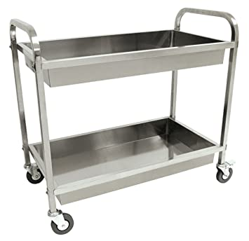 Cart Serving Steel Stainless Kitchen Utility Catering Food Rolling Shelf  Dolly Table Dining Medical Prep 3