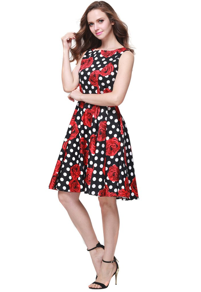Buenos Ninos Women's Classic 1950s Printed Vintage Retro Rockabilly Party Ball Swing Dress Black with Red Rose L by Buenos Ninos (Image #2)