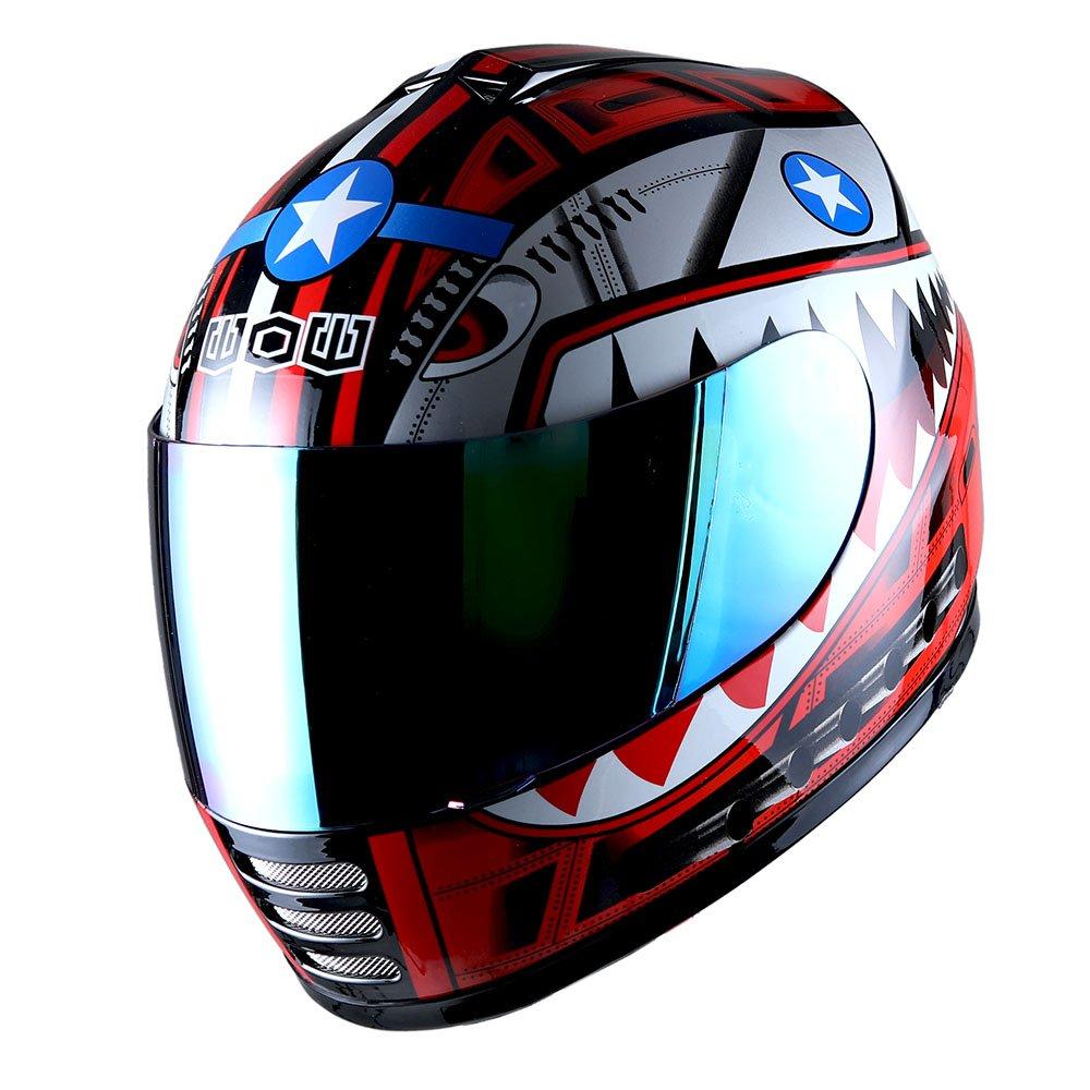 WOW Motorcycle Full Face Helmet Street Bike BMX MX Youth Kids Shark Blue