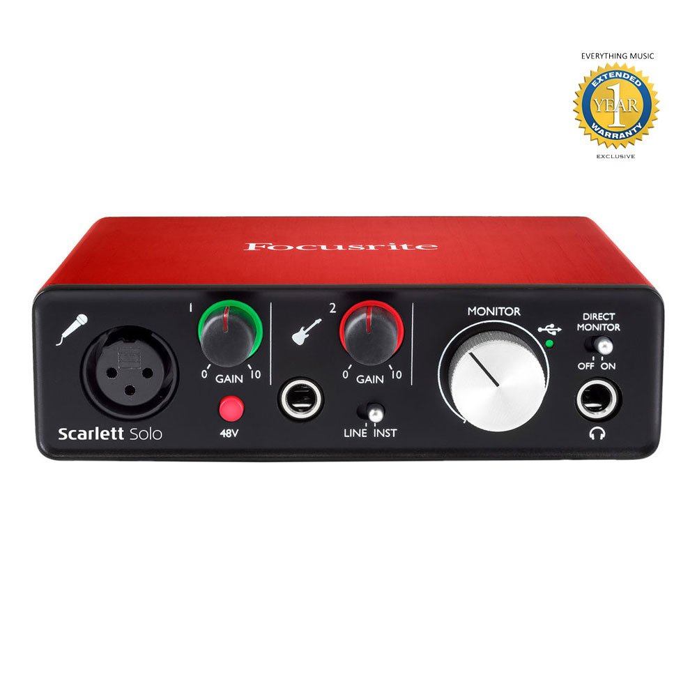 Focusrite Scarlett Solo Second Generation (2nd Gen) 2-in/2-out USB 2.0 Audio Interface with 1 Year Free Extended Warranty Scarlett Solo 2nd Gen