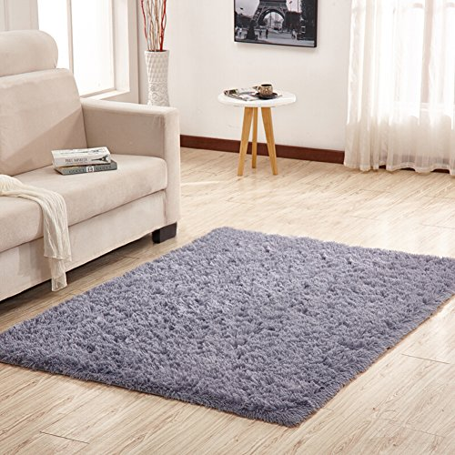YJ.GWL Soft Shaggy Area Rugs for Bedroom Kids Room Children Playroom Non-slip Living Room Carpets Nursery Mat Home Décor Rug 4 Feet by 5.3 Feet(Gray) from YJ.GWL