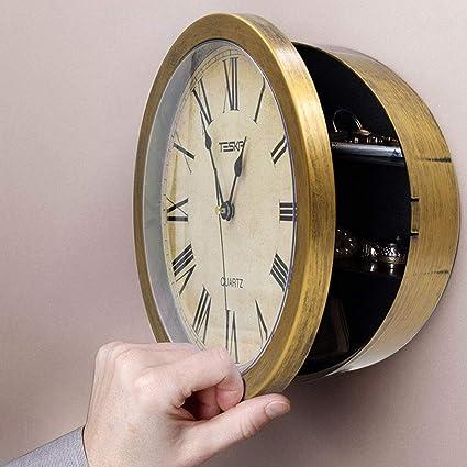 Wertsachen Bargeld Lagerung Schmuck Sichere Uhr versteckte geheime Wanduhr Safe Container Bargeld Lagerung f/ür Geld Stash