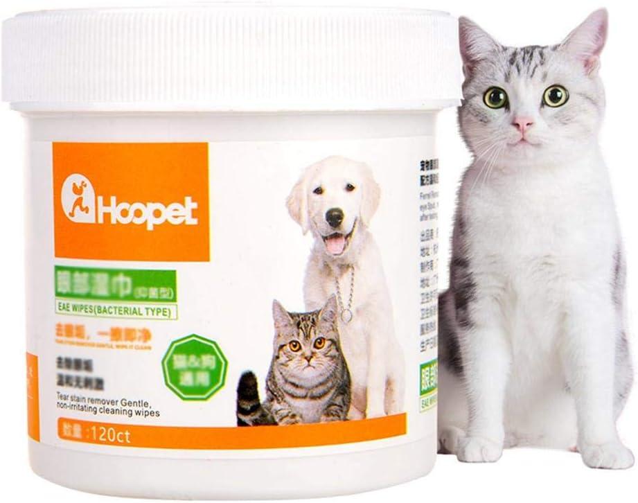 120Pcs Mascotas Perros Gatos Limpiador de Manchas de lágrimas Toallas No Tejidas Limpieza de Ojos para Mascotas Toallitas de Aseo Bichon Teddy Eliminar Manchas de Piel Mucosidad Saliva