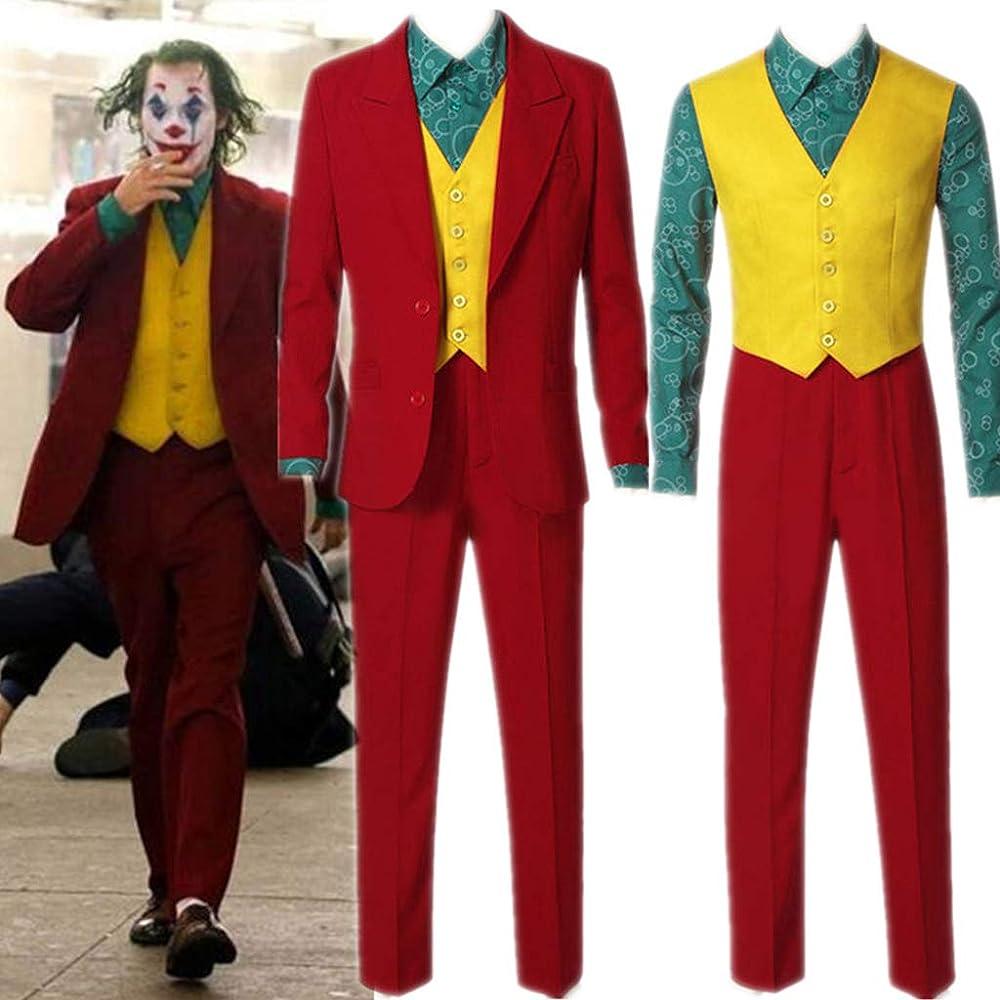Amycute Disfraz de Joker Traje de Rojo, Camisa + Chaleco + Traje + ...