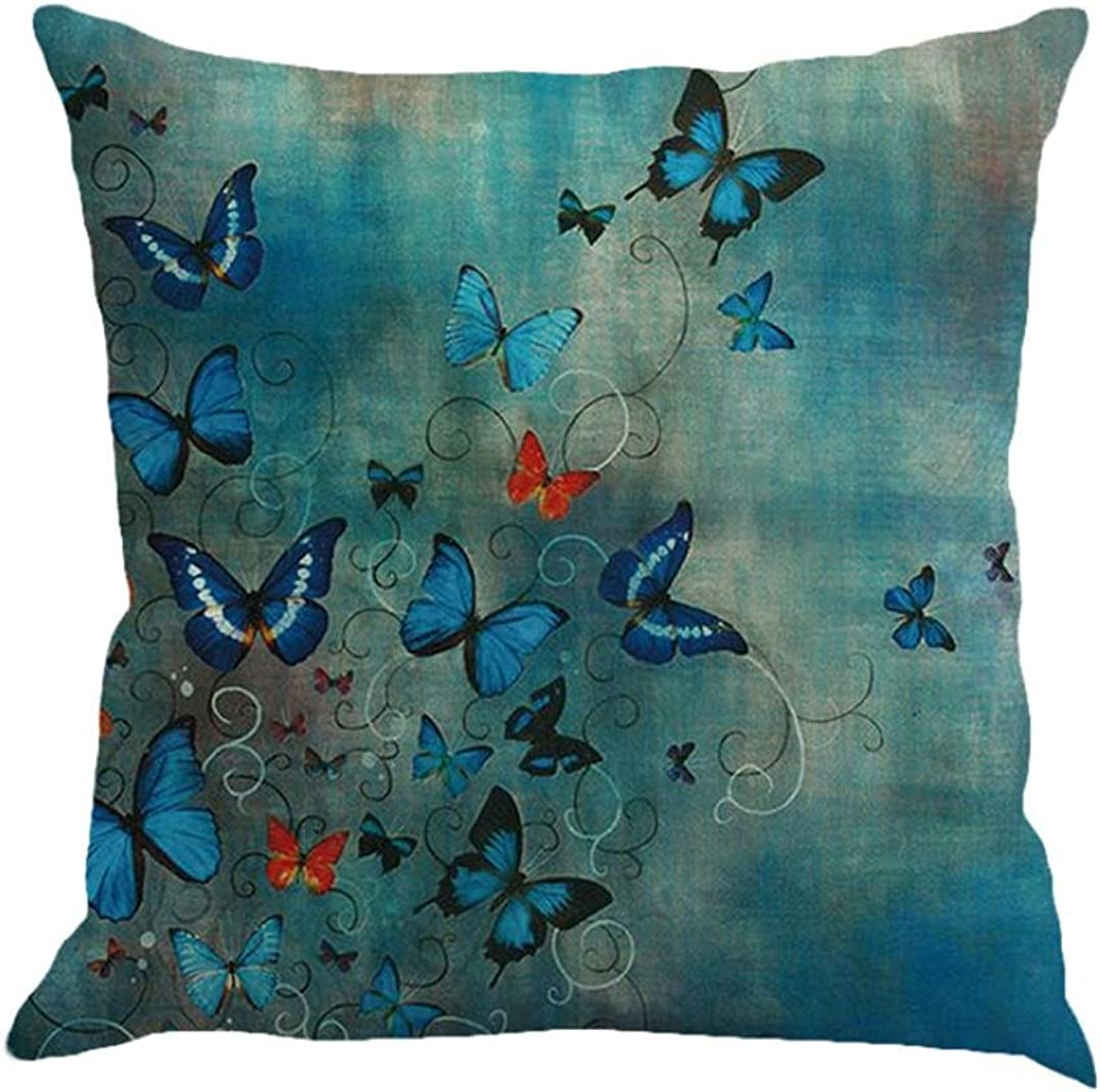 Butterfly Throw Pillow Cases, Kimloog Square Flax Cushion Cover Car Sofa Home Decorative 18x18 Pillowcase