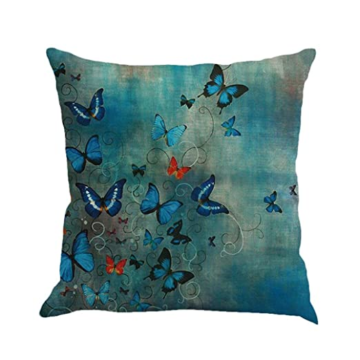 Butterfly Throw Pillow Cases, Kimloog Square Flax Cushion Cover Car Sofa  Home Decorative 18x18 Pillowcase