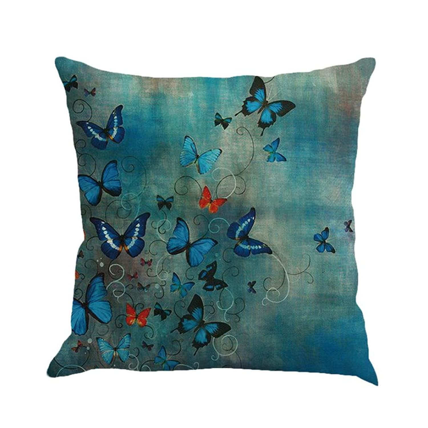 KMG Butterfly Throw Pillow Cases, Kimloog Square Flax Cushion Cover Car Sofa Home Decorative 18 x 18 Pillowcase
