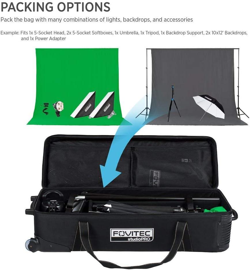 Renewed 1x Classic Photography /& Video Lighting Equipment Roller Bag - EZ Glide Wheels Fleece Lining Fovitec 32 x 11x 11 Durable Nylon
