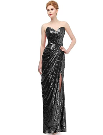 Amazon.com: JYDress Women\'s Sweetheart Strapless Sequins Party Prom ...