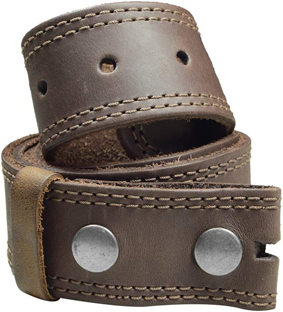 Hide & Drink, Two Row Stitch Thick Leather Snap On Belt Handmade :: Bourbon Brown