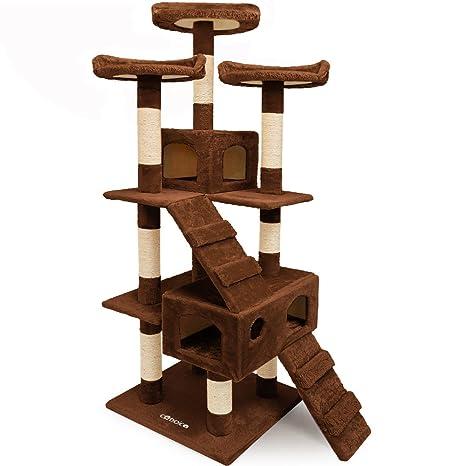 CADOCA® Rascador para gatos de 175 cm con tres plataformas, escaleras y dos cuevas