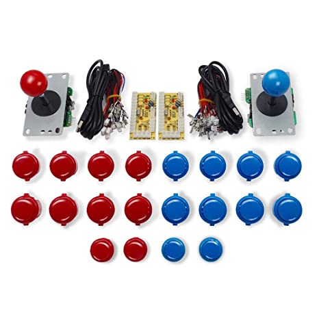 Marwey Arcade Buttons and Joystick Kits DIY Controller USB Encoder to PC  Games 2 5Pin 8 Ways Joystick + 20x Push Buttons (2 8mm Terminal) for  Windows