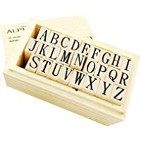 Alphabet Stamp Wooden Rubber Stamps Set with 20 Colors Multi-Colored Stamp Ink Pad Capital Letters Stamps for Kids Craft DIY Card Diary Crafting (26 Letters Stamps)