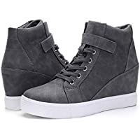 Women Fashion Sneakers Casual Wedges Sneakers Lace Up Hook Loop High Top Short Boots for Autumn Winter