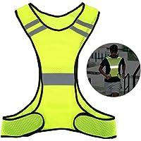 EECOO Chaleco Reflectante, Chaleco de Seguridad de Alta Visibilidad con Bolsa de Almacenamiento, Barras Paralelas para Deportes Al Aire Libre, Carreras Nocturnas, Caminar y Montar en Bicicleta