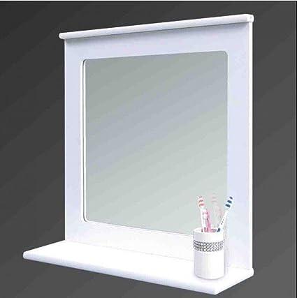 White Wood Bathroom Mirror With Shelf Wall Mirror With Organiser