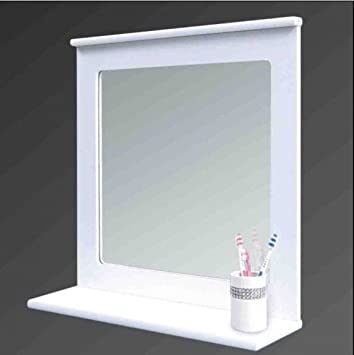 WHITE WOOD BATHROOM MIRROR WITH SHELF WALL ORGANISER