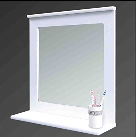 White Wood Bathroom Mirror With Shelf Wall Mirror With Organiser
