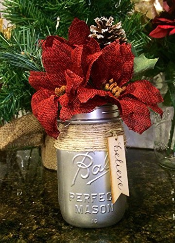 silver mason jar with holiday floral arrangement rustic christmas centerpiece hostess gift