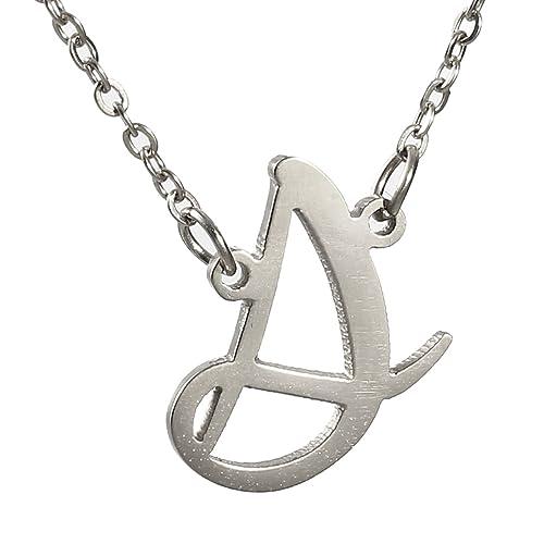 Amazon.com: Huan Xun Collar con inicial de acero inoxidable ...