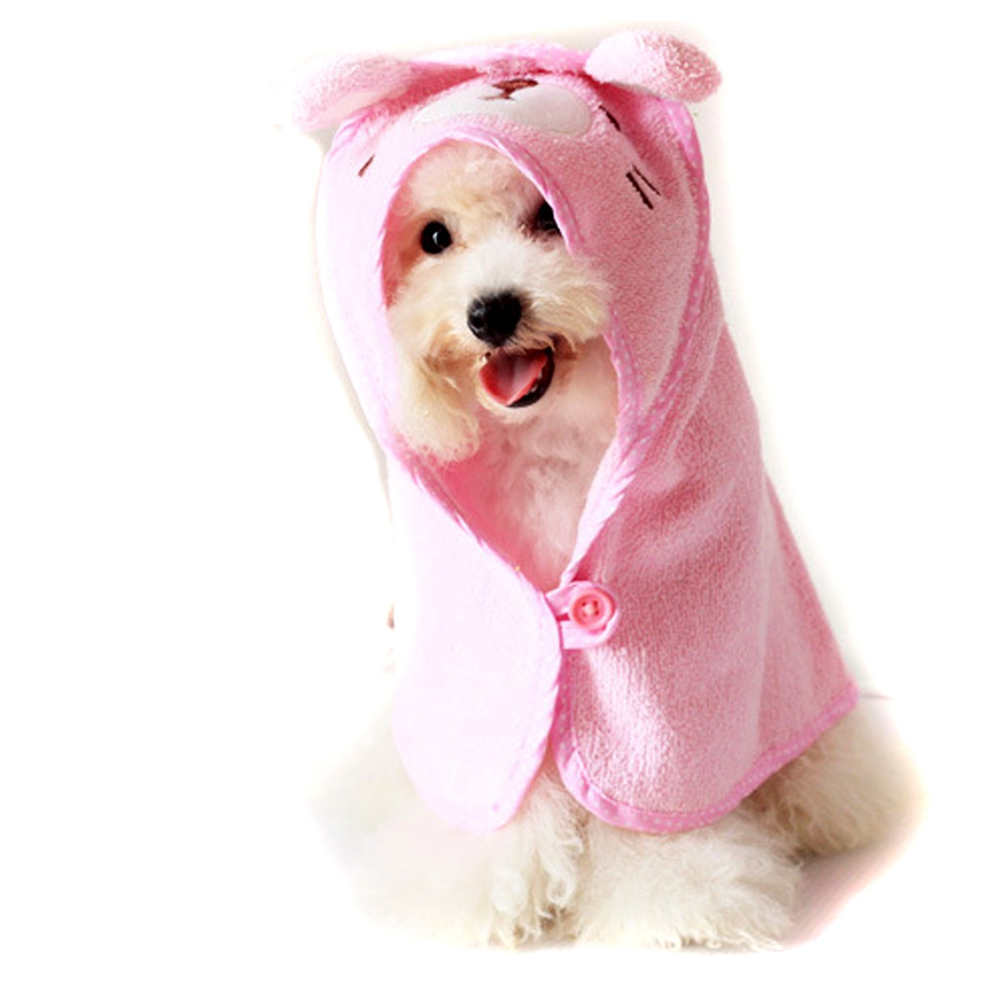 Alfie Pet by Petoga Couture - Kate Hooded Bath Towel for Small Dogs and Cats - Color: Pink, Size: S