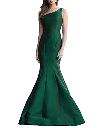 LL Bridal Womens One Shoulder Mermaid Prom Dresses Long Formal Gown 2018 Green Size 2