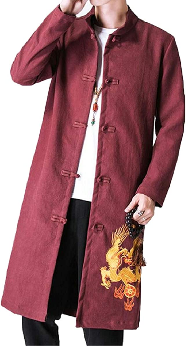 ONTBYB Mens Trench Coat Casual Embroidery Frog Button Jacket Long Coat Outwear