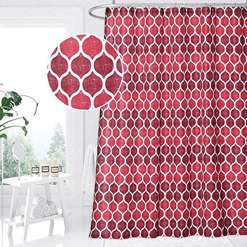 - CAROMIO Red Fabric Shower Curtain, Moroccan Geometric Ogee Patterned Fabric Shower Curtain for Bathroom, 72 x 72, Red/Burgundy