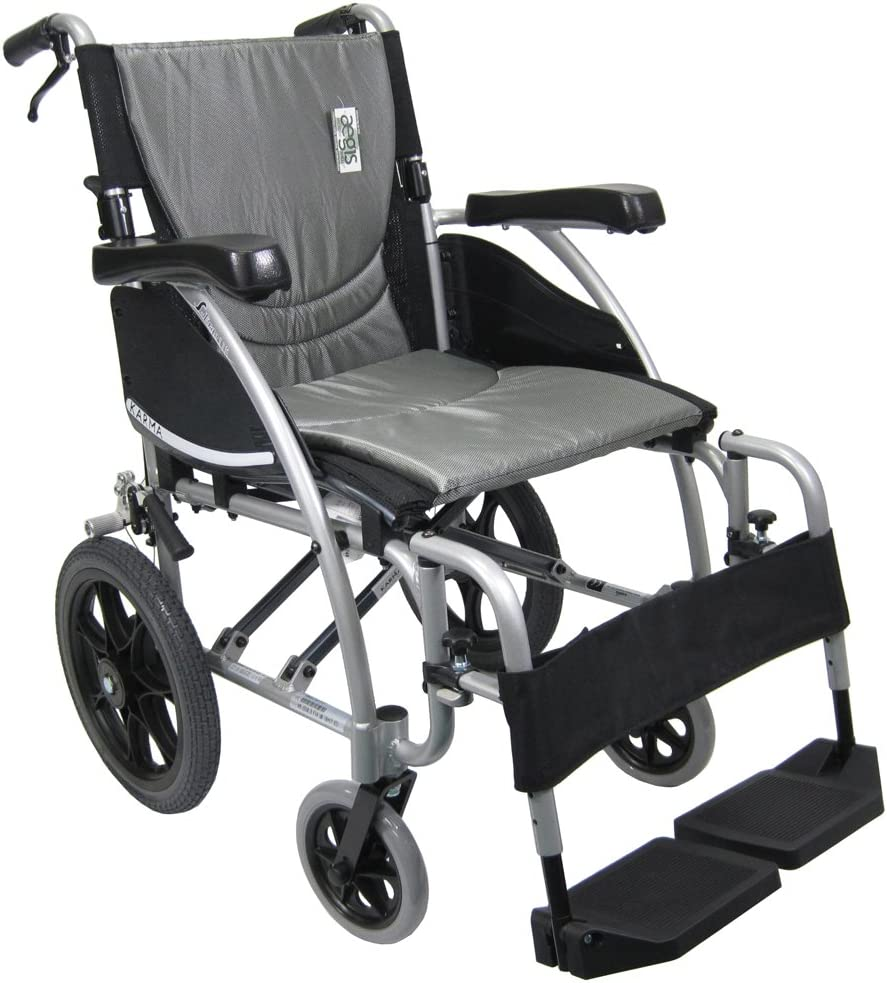 "B008YX2LPW Karman Transport Wheelchair with Companion Brakes, 16"" Seat and 14"" Rear Wheels, Silver Frame 61j272BQmT8L.SL1000_"