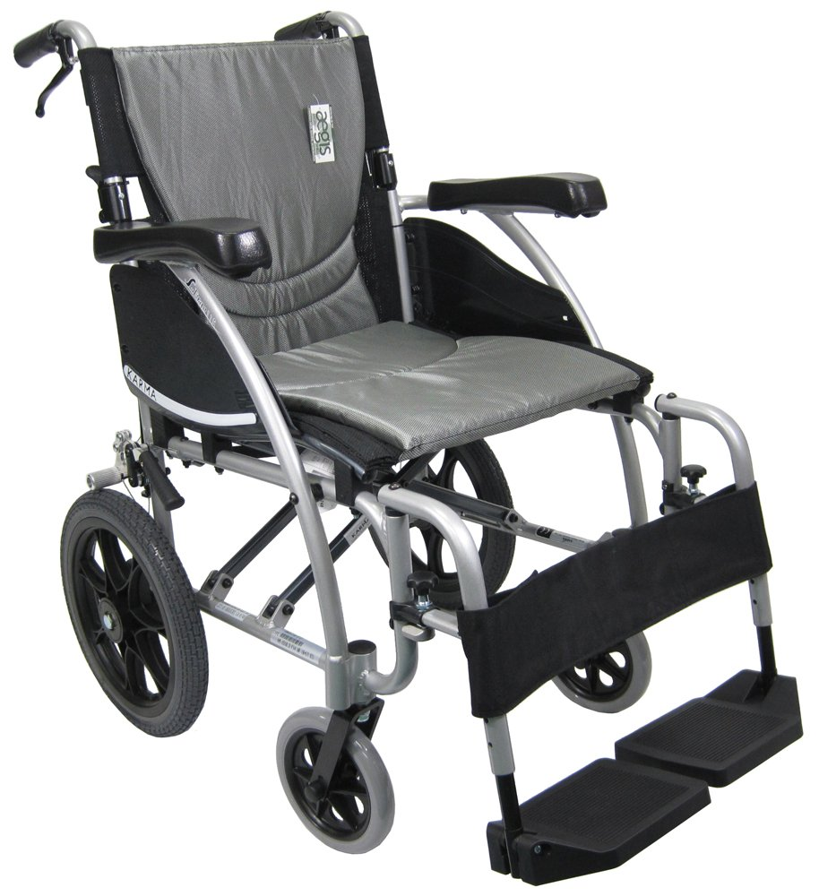 Karman Transport Wheelchair with Companion Brakes, 18 inch Seat and 14 inch Rear Wheels, Silver Frame