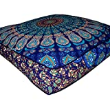 "ANJANIYA - 35""x35"" Mandala Bohemian Yoga Meditation Large Square Dog Bed Outdoor Floor Pillow Cover Couch Seating Cushion Throw Hippie Decorative Boho Indian Ottoman"
