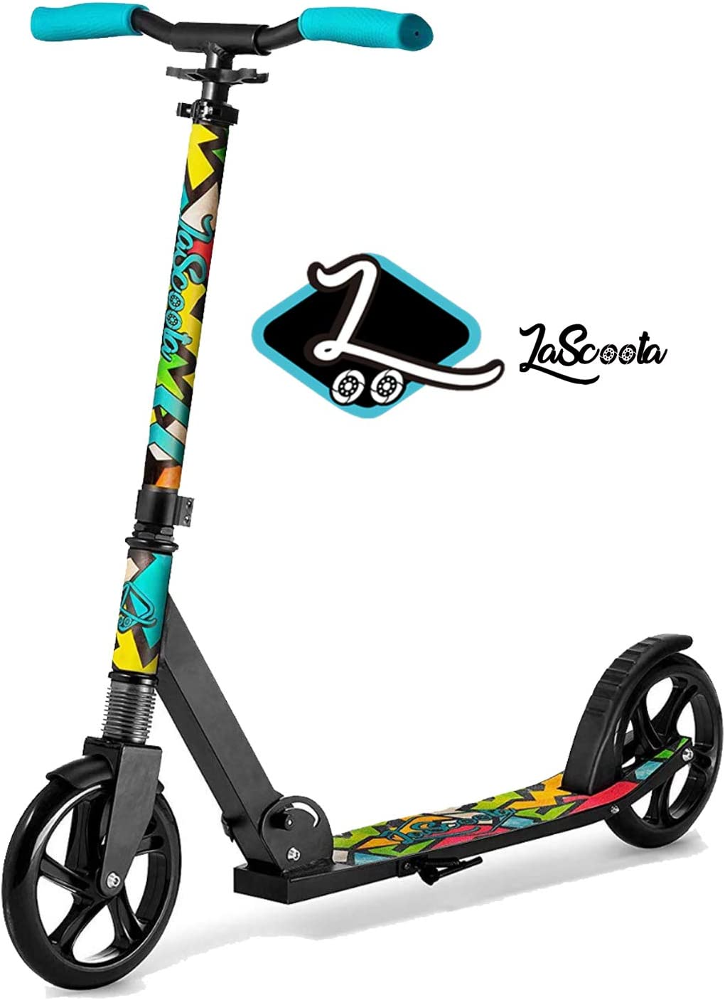 """Lascoota Scooters for Kids 8 Years and up - Quick-Release Folding System - Dual Suspension System + Scooter Shoulder Strap 7.9"""" Big Wheels Great Scooters for Adults and Teens"""