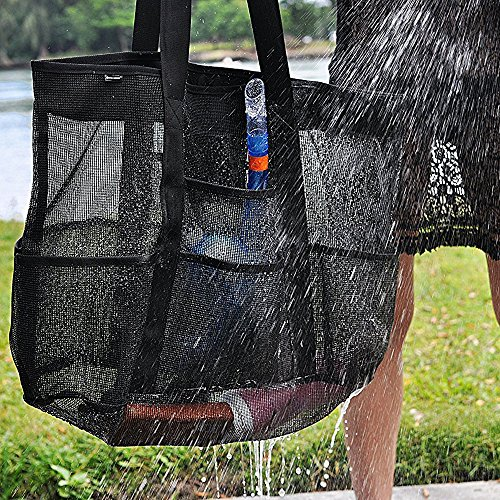 Large Mesh Beach Bag Clear Tote Bag with Zipper for Women by EPOCHMA (Image #5)