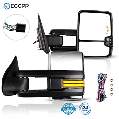 ECCPP Towing Mirrors, A Pair of Exterior Automotive Mirror fit 2014-2020 Chevy Silverado GMC Sierra with Running Reversing Lights Power Operation Heated Arrow Signal Chrome Housing: Automotive