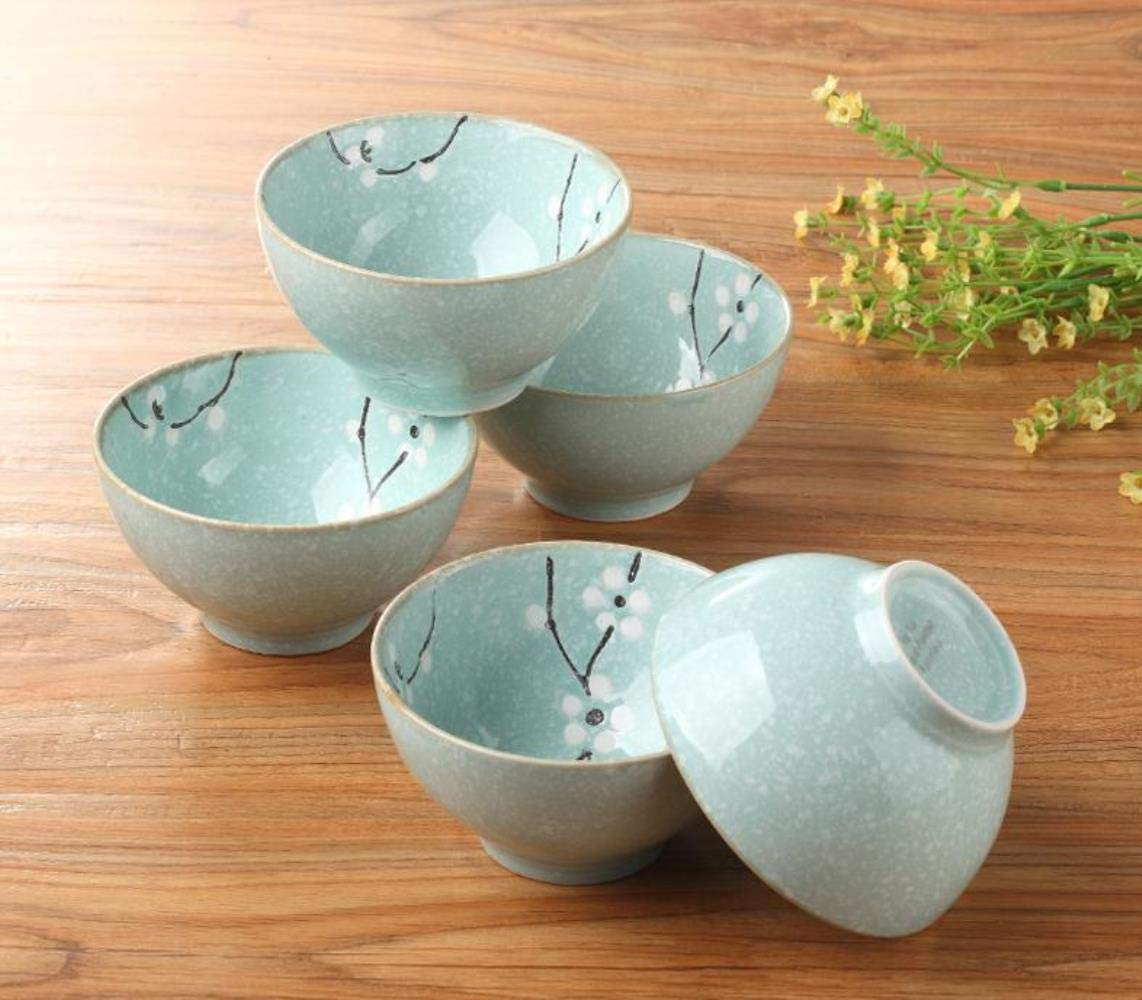 GHGYUF 1set Ceramic Bowl Korean Japanese-Style Underglaze Flower Patterned Rice Soup Bowls,4 pcs Beige,11 x 6cm