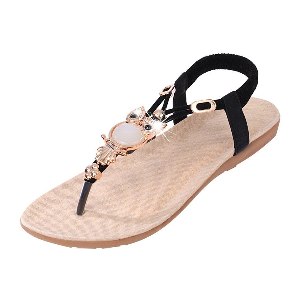 Womens Sandals Flat Bohemia Style Gem Owl Beaded Clip Toe Flip Flop Casual Summer Beach Shoes