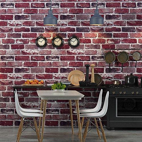 Okydoky Vintage Removable Textured Red Brick Wallpaper, Livingroom Bedroom Kitchen Background ()