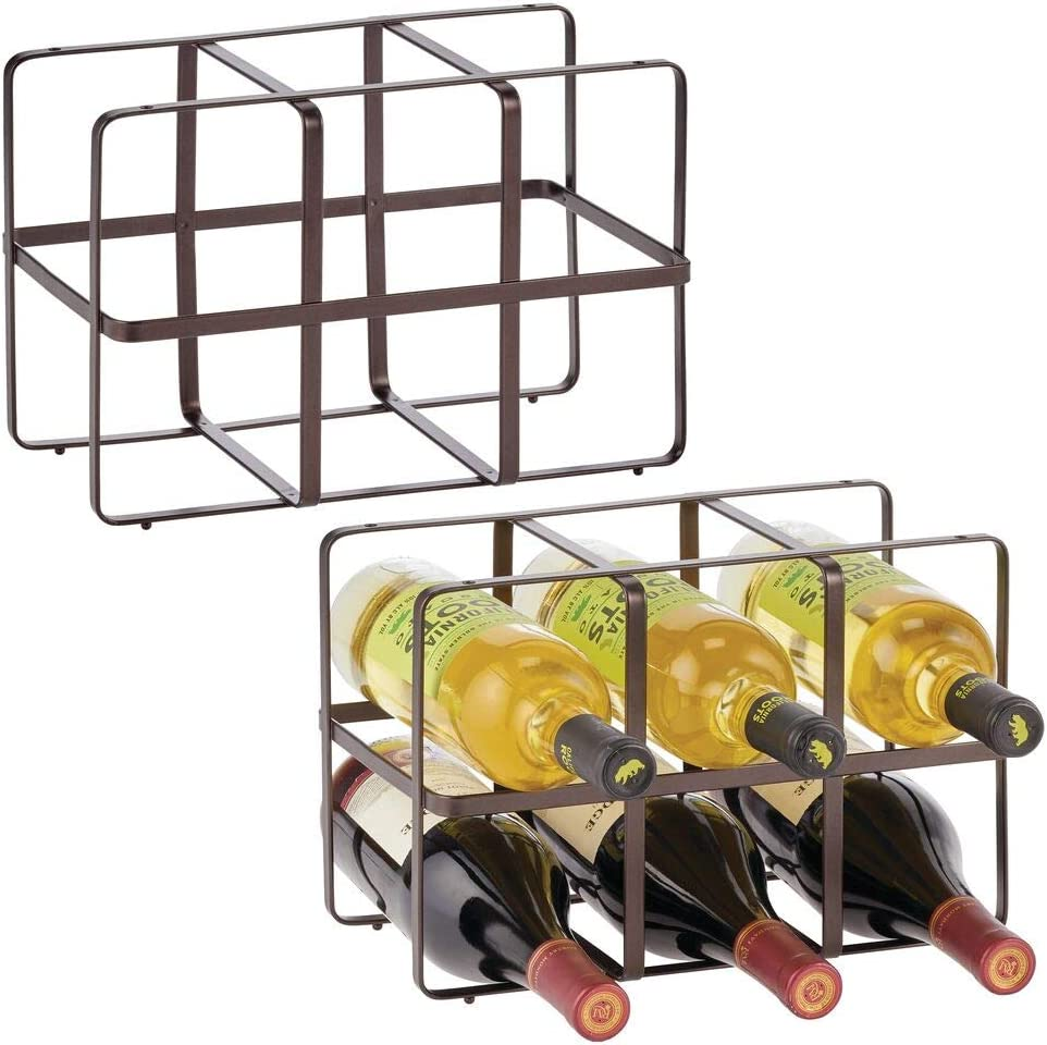 mDesign Metal Free-Standing Wine Rack Storage Organizer for Kitchen Countertops, Pantry, Fridge - Stores Wine, Beer, Pop/Soda, Water Bottles - 2 Levels, Holds 12 Bottles - 2 Pack - Bronze