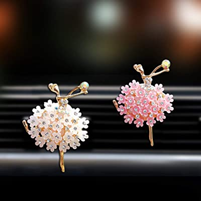 MLOVESIE Movies 2pcs/Pack Bling Bling Car Fragrance Crystal Dancing Girl Floral Car Diffuser Air Freshener with Vent Clip: Automotive
