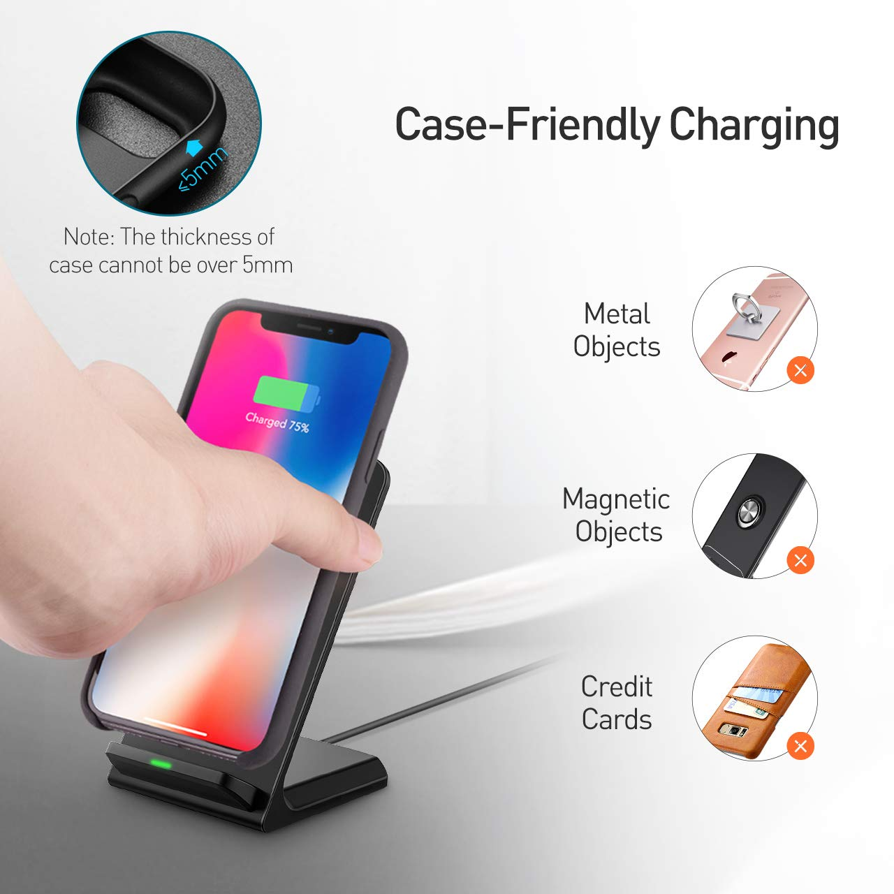 Seneo (Upgraded) Wireless Charger, Qi Certified Fast Wireless Charger Stand with QC 3.0 Adapter for Galaxy S9/S9+ Note 8/5 S8/S8+ S7/S7 Edge S6 Edge+, Standard Qi Charger for iPhoneX/8/8 Plus by Seneo (Image #6)
