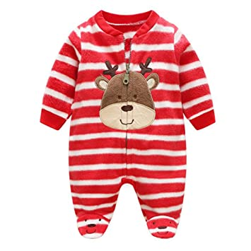 c5fc5f722 Neroborn Baby Pajamas Footed Fleece Romper Coverall Zip Front ...