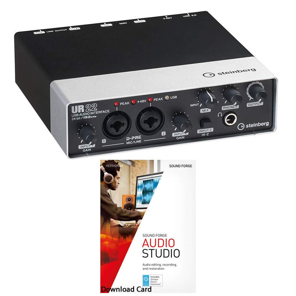 Steinberg UR22 MKII USB Audio Interface Bundled with MAGIX Sound Forge Audio Studio 12 [Download Card]