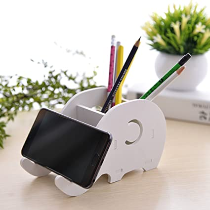 MissLytton Cell Phone Stand Pencil Pen Holder, Office Wood Standing Desk  Organizer Cute Elephant Shape