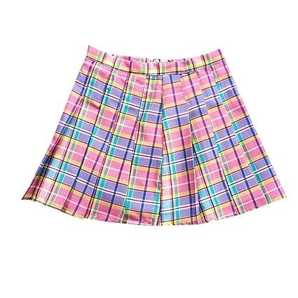 HEHEAB Falda,Pink Plaid Cintura Alta Falda Plisada Rainbow Una ...