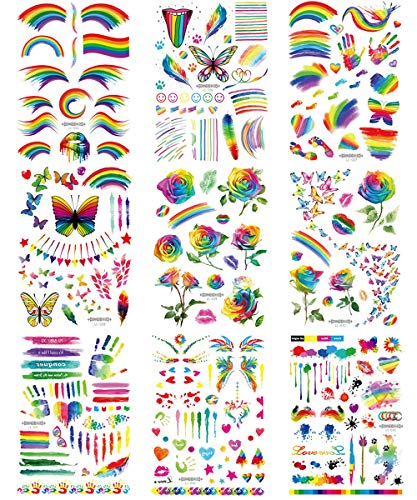 LGBT Rainbow Tattoos Set Gay Pride Temporary Tattoo Stickers with Colorful Butterfly Star Flowers Flag Design Body Art…