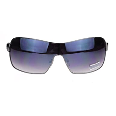 4201440b18 Mens Italian Designer Fashion Rimless Shield Sport Pilot Sunglasses Gunmetal  Grey