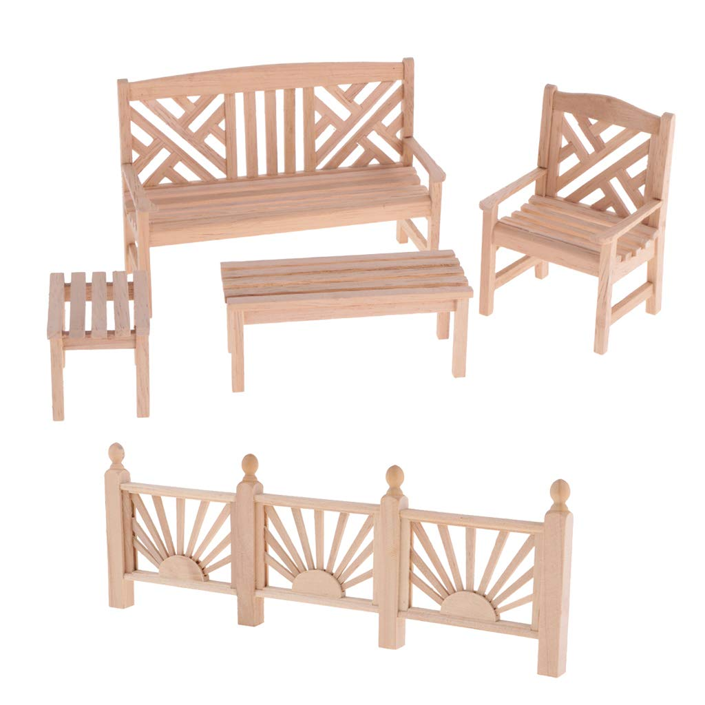 Prettyia 1/12 Dollhouse Miniature Unpainted Furniture Garden Park Decor Bench Chair Table Rail Fence