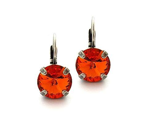 cat cabochon glass Sleeping earrings tiger brown stainless steel orange 12 mm diameter