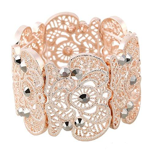 D EXCEED Vintage Metal Lace Pattern Etched Filigree Crystal Stretch Bangle Bracelet for Women 7