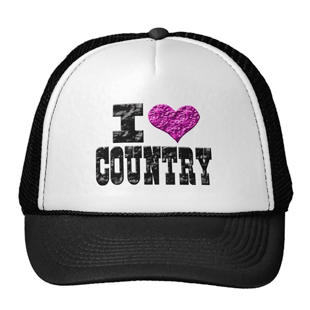 I Love Country Trucker Hat Black